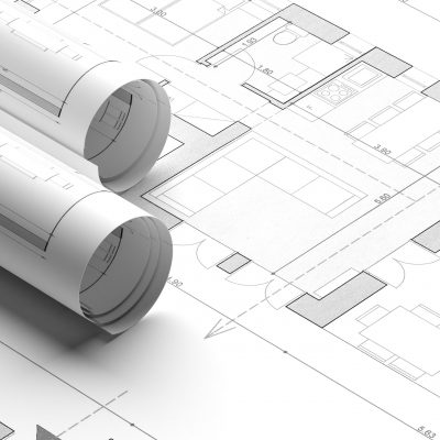 Building project blueprint plans. Real estate, construction concept. Architecture design, banner. 3d illustration